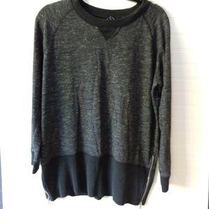 GAP | Black Long Sleeve Ribbed Zip Tunic Size Lg